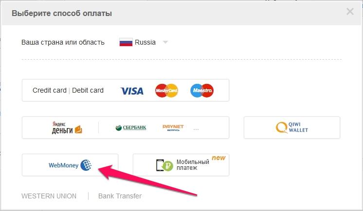 Выбор оплаты с вебмани