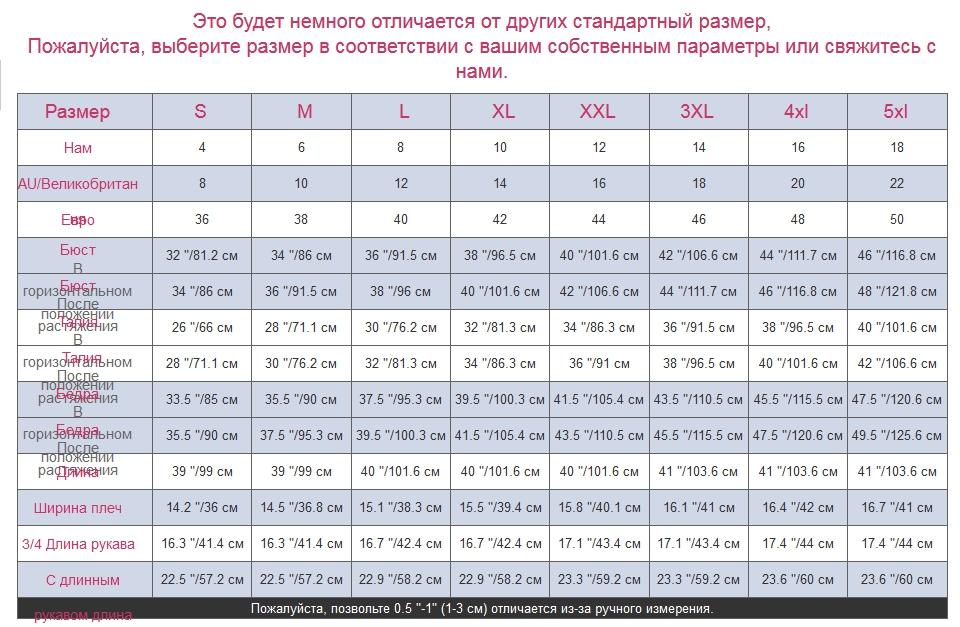 Таблица размеров АлиЭкспресс для платья